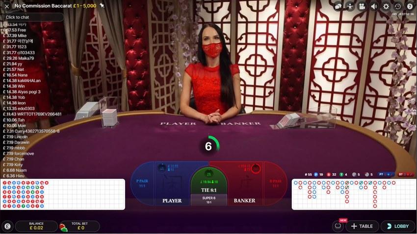 Live Dealer Baccarat Interface