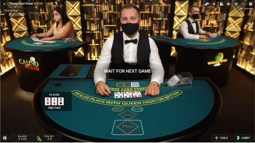 3 Card Poker Interface